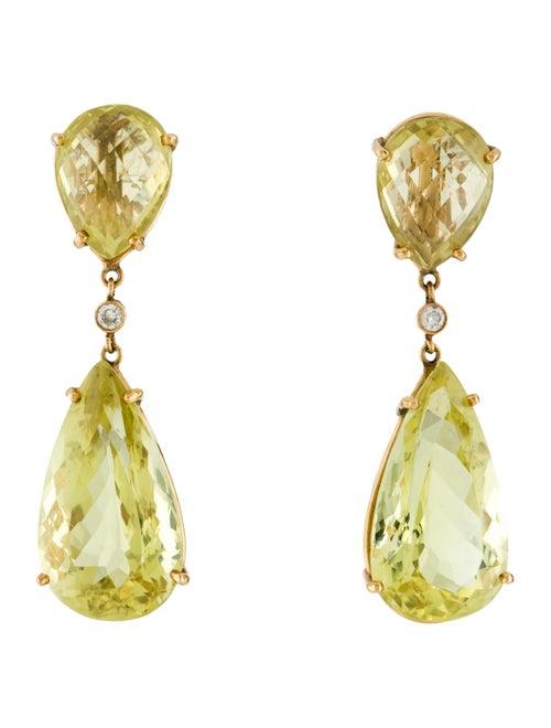14K Yellow Quartz & Diamond Drop Earrings yellow
