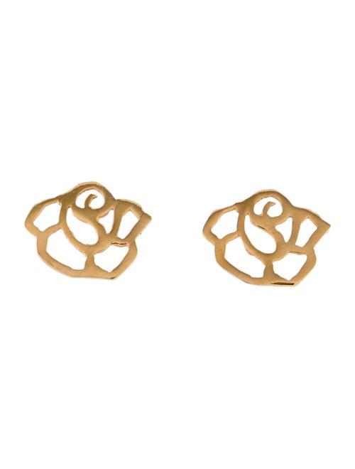 18K Rose Stencil Stud Earrings rose