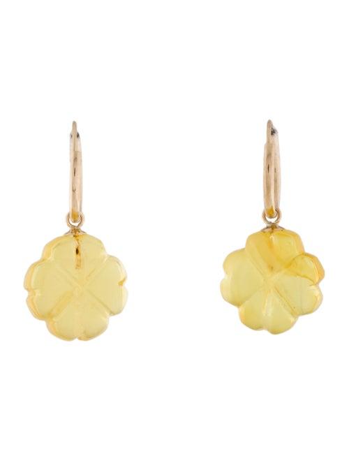 14K Amber Drop Earrings yellow