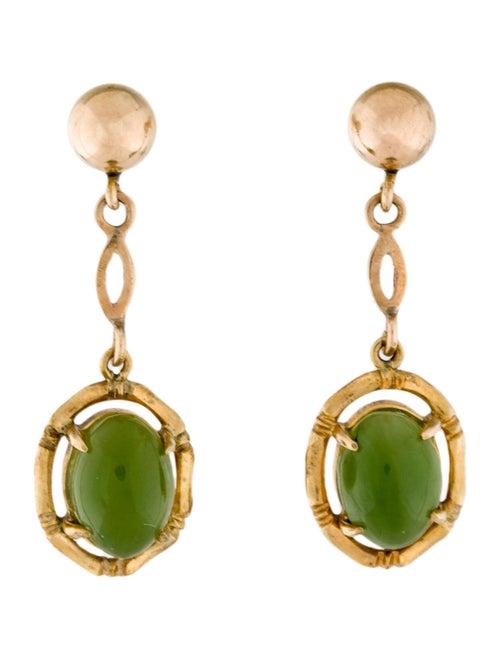 14K Nephrite Drop Earrings yellow