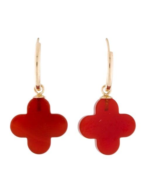 14K Carnelian Drop Earrings yellow