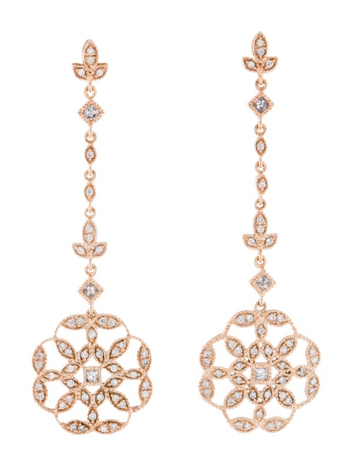 14K Diamond Drop Earrings rose
