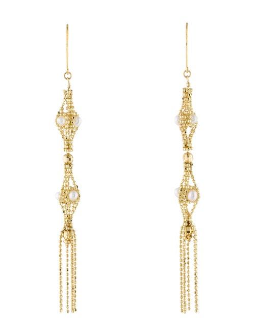 18K Pearl Tassel Earrings yellow