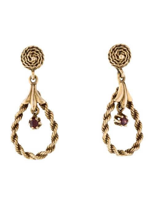 14K Garnet Drop Earrings yellow