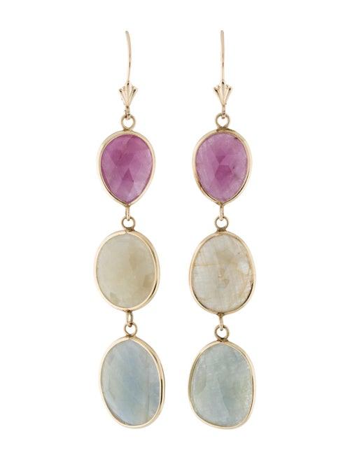 14K Sapphire Drop Earrings yellow