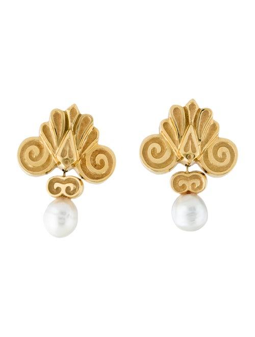 18K Pearl Drop Earrings yellow
