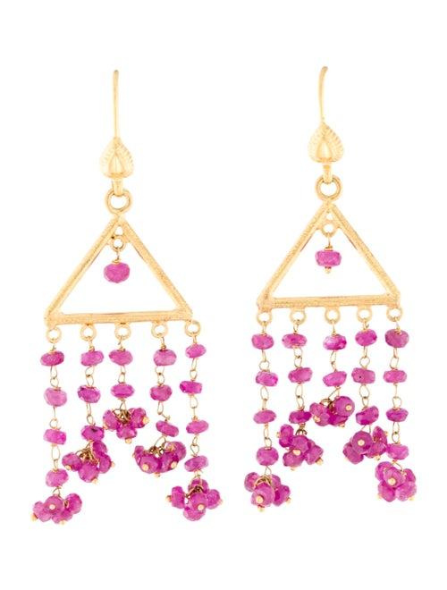 18K Pink Sapphire Drop Earrings yellow