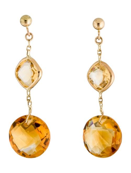 14K Citrine Drop Earrings yellow