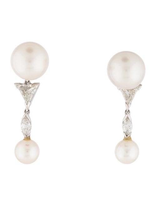 Pearl & Diamond Drop Earrings white