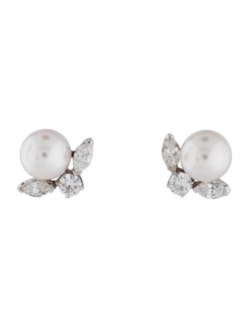 14K Pearl & Diamond Earrings white