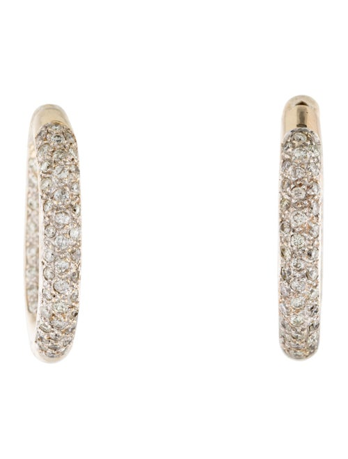 Earrings 14K Two Tone Diamond Pave Inside Out Hoops