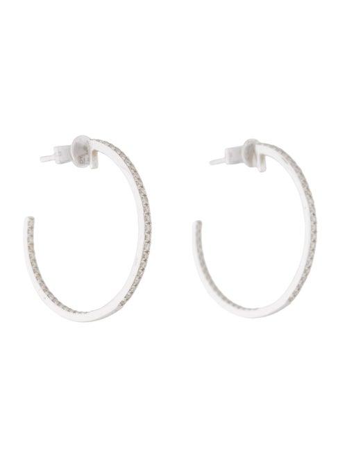 14K Diamond Hoops white