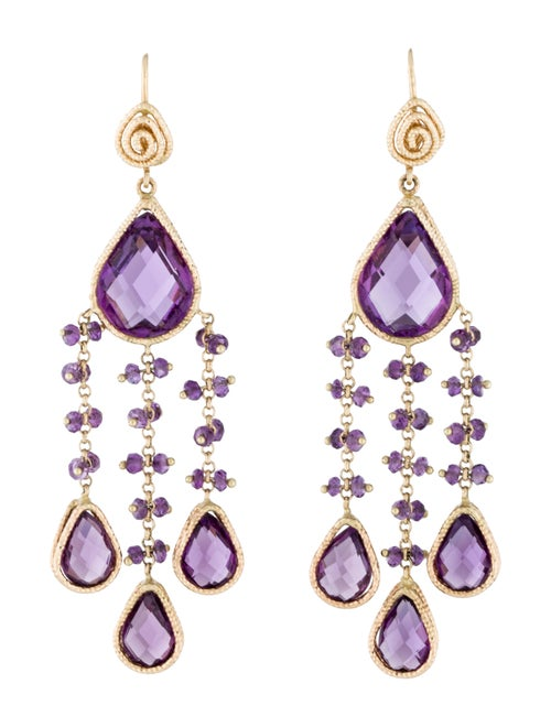 14K Amethyst Chandelier Earrings yellow - image 1
