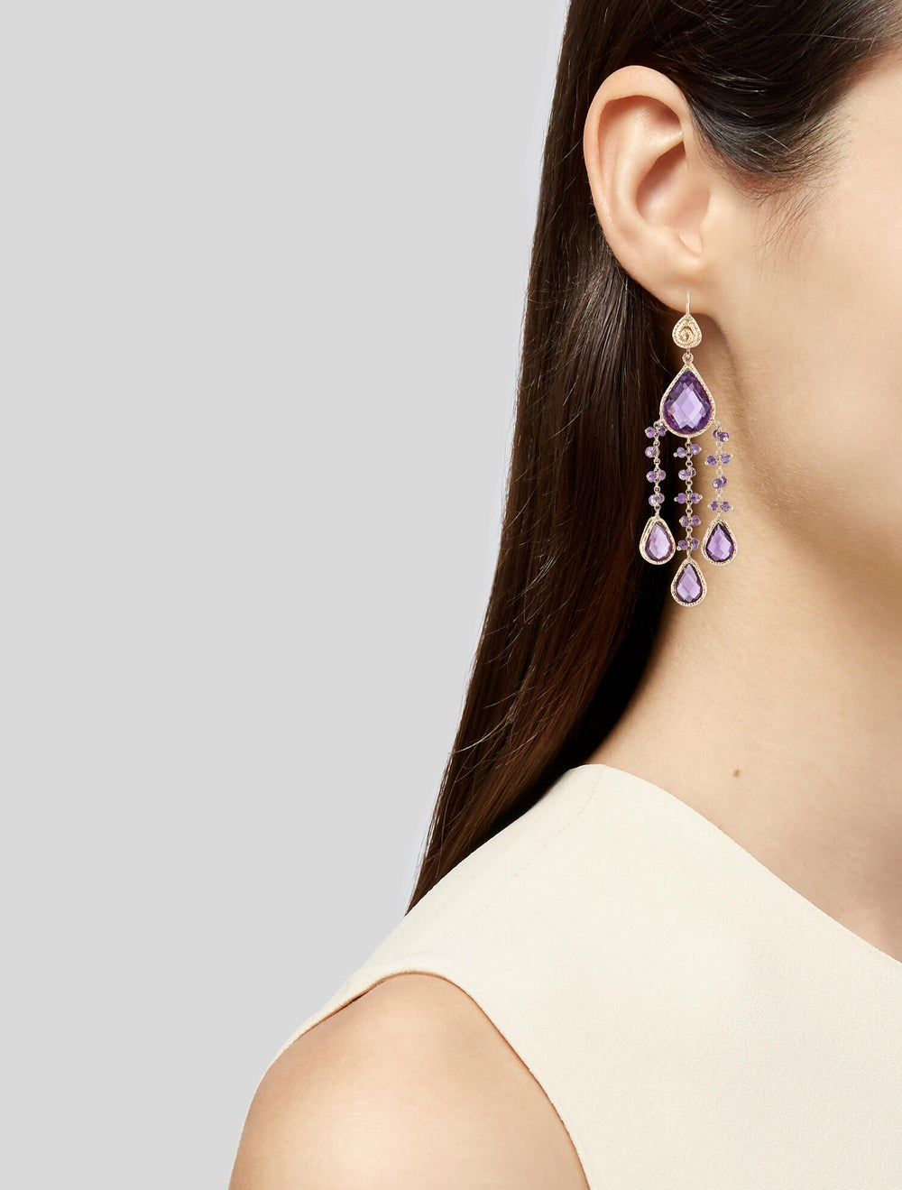14K Amethyst Chandelier Earrings yellow - image 2