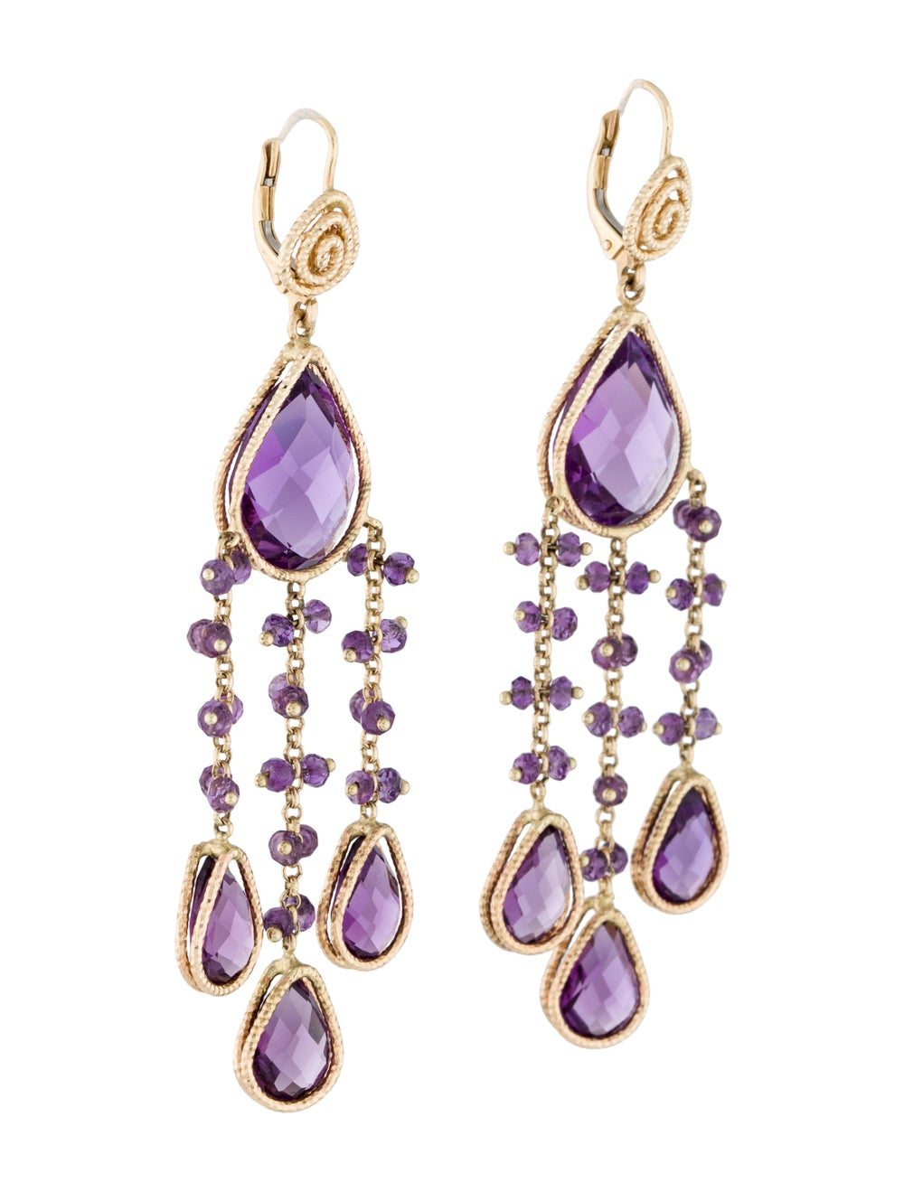 14K Amethyst Chandelier Earrings yellow - image 3