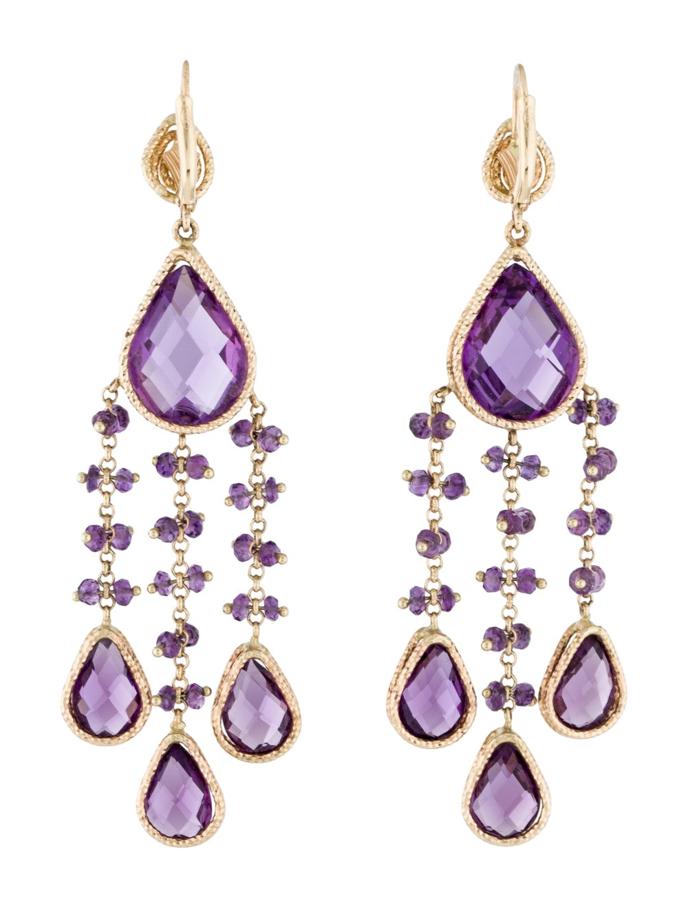 14K Amethyst Chandelier Earrings yellow - image 4