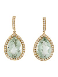 Earrings 18K Prasiolite & Diamond Drop Earrings