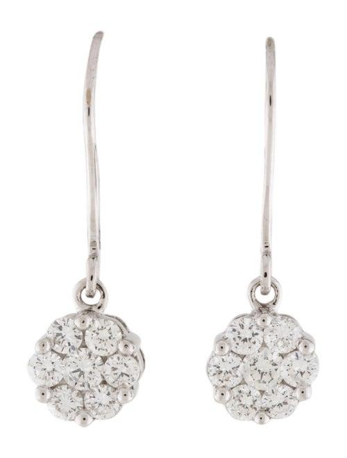 14K Diamond Flower Drop Earrings white
