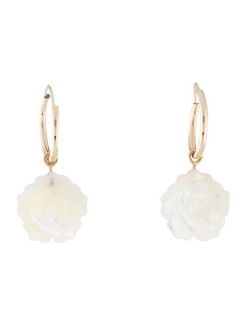 Earrings 14K Mother of Pearl Carved Flower Hoop Ea