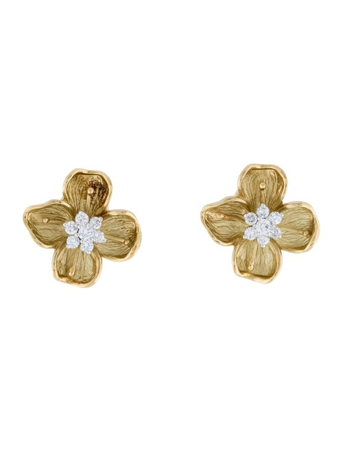 18K Diamond Flower Earrings yellow
