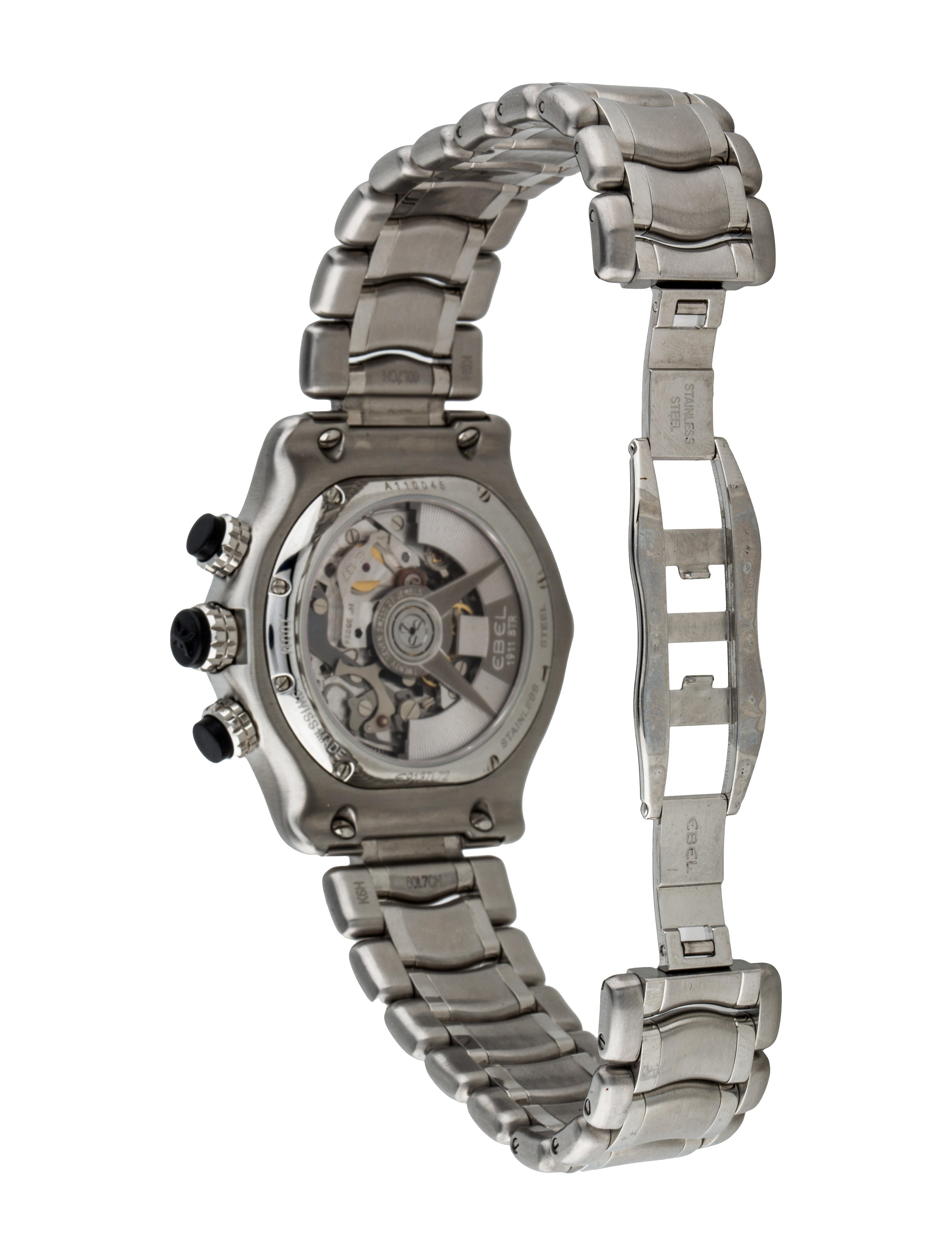 Ebel 1911 BTR Chronograph Watch Bracelet EBE20221  : EBE202215enlarged from www.therealreal.com size 3328 x 4390 jpeg 626kB