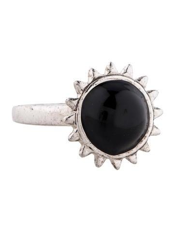 Black Enamel Sun Ring
