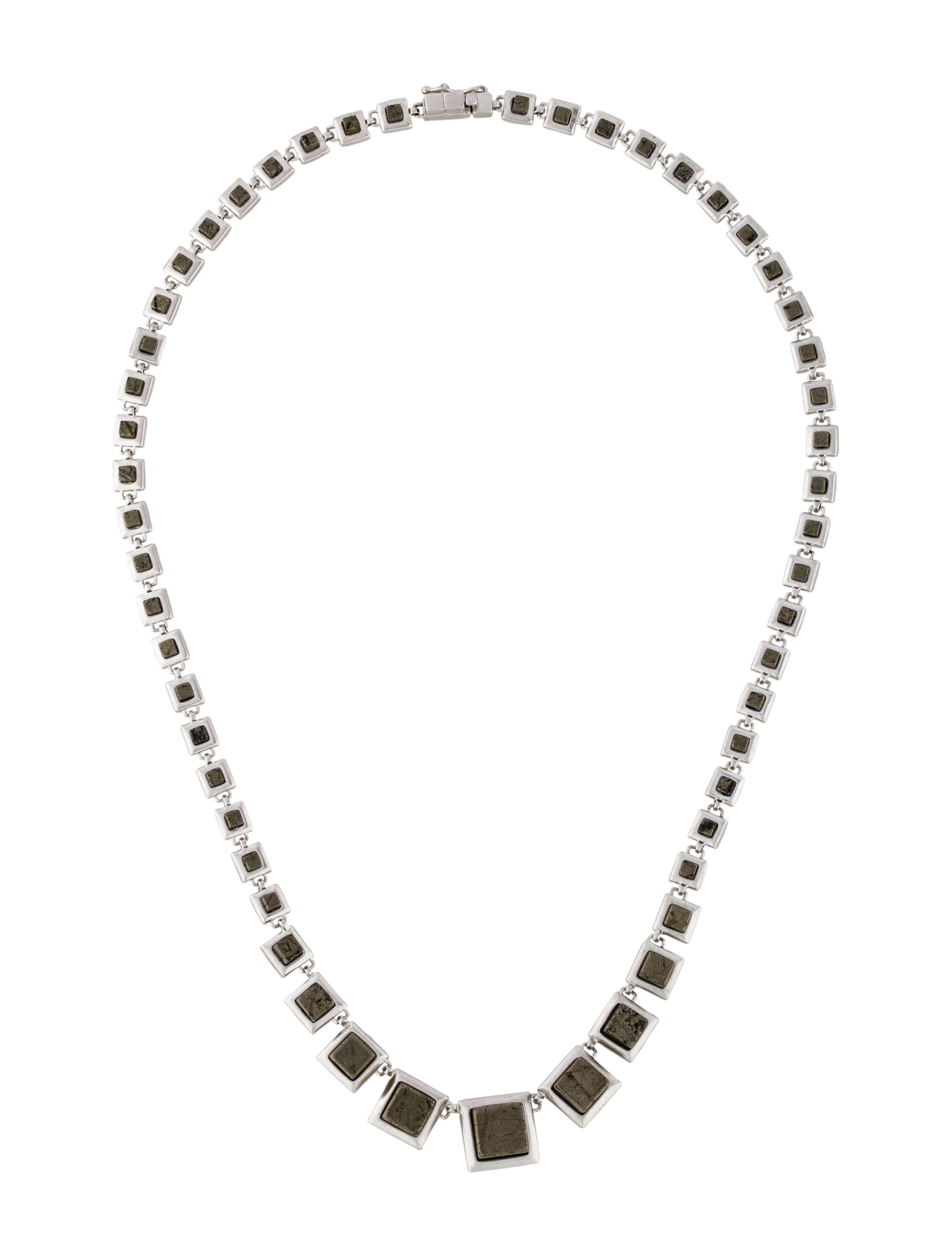 Eddie Borgo Graduated Pyrite Cube Collar Necklace ...