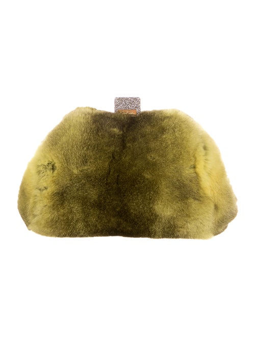 Edie Parker Parker Rabbit Fur Clutch Green