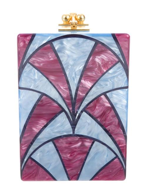 Edie Parker Acrylic Box Clutch Blue