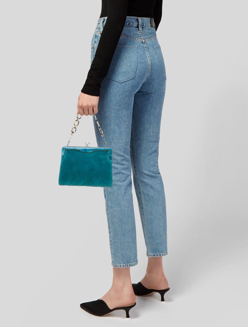 Edie Parker Velvet Handle Bag Green - image 2