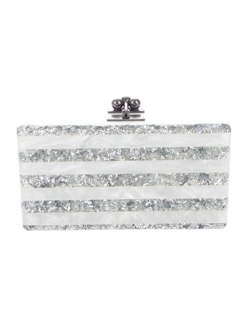 Edie Parker Striped Acrylic Box Clutch White