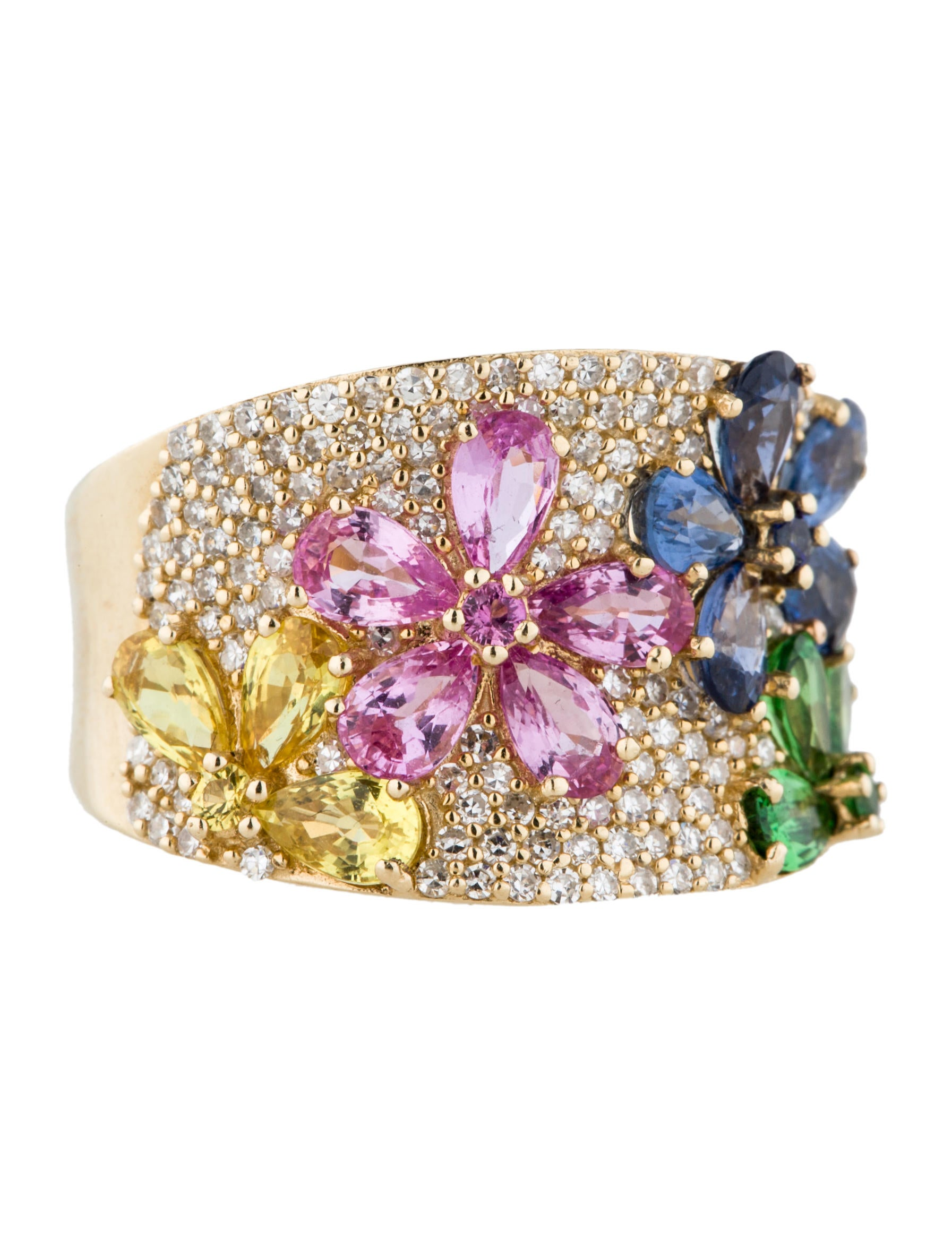 Effy Jewelry Sapphire Flower And Diamond Ring Rings