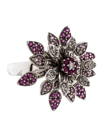 Effy Jewelry 14K Pink Sapphire & Diamond Flower Spinner Ring