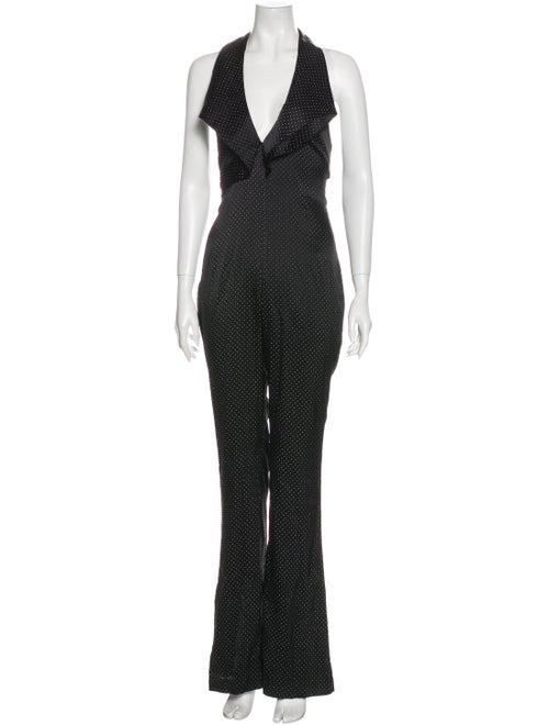 Eleanor Balfour Silk Polka Dot Print Jumpsuit Blac