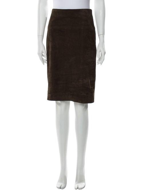 Eleventy Suede Knee-Length Skirt Brown