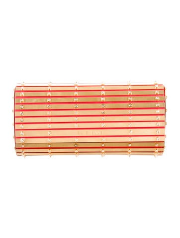 Embellished Metal Striped Clutch