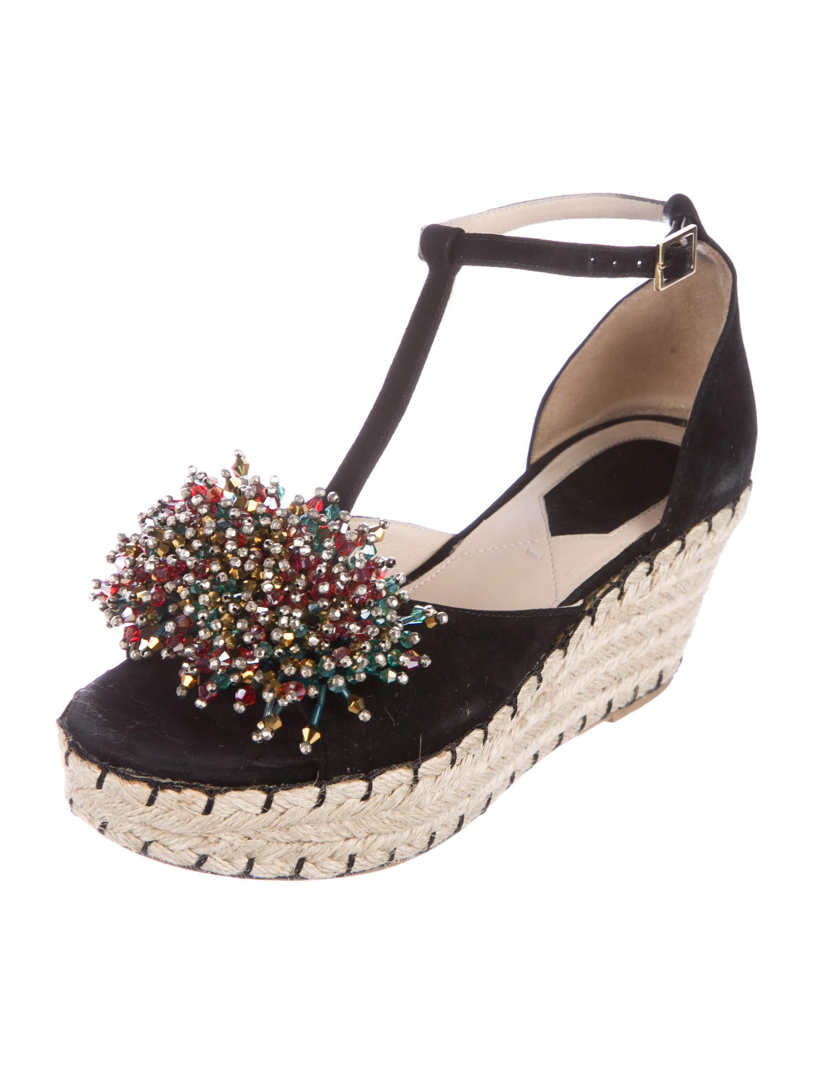 Elie Saab Anemone Embellished Espadrille Wedges for sale cheap price uYoWwOs3m8