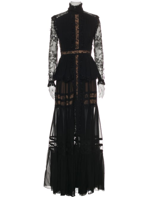Elie Saab Lace Pattern Long Dress Black