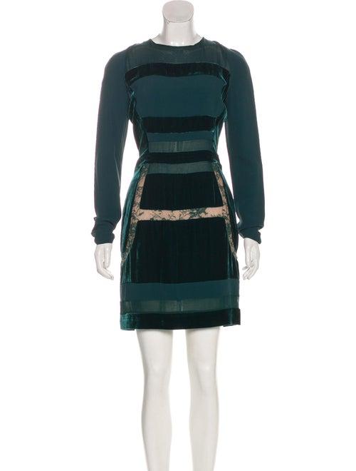 Elie Saab Velvet Lace-Trimmed Dress