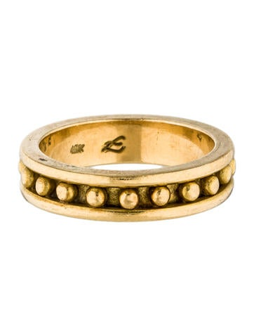 Elizabeth Locke 19k Gold Granulated Stack Ring ISpmZUKS