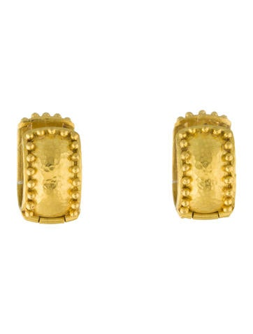 Elizabeth Locke Amalfi Granulated 19k Gold Huggie Earrings kKwhi3sF