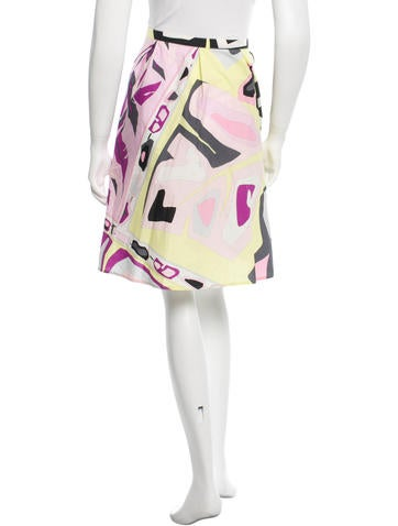 Abstract Printed Knee-Length Skirt