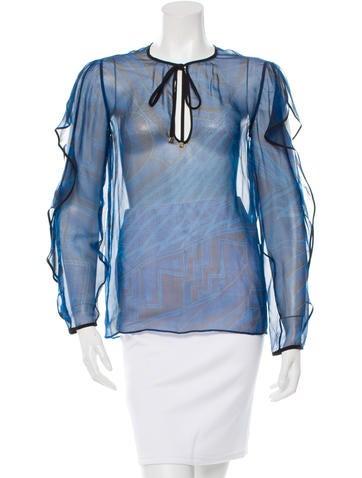 Emilio Pucci Silk Abstract Print Top None