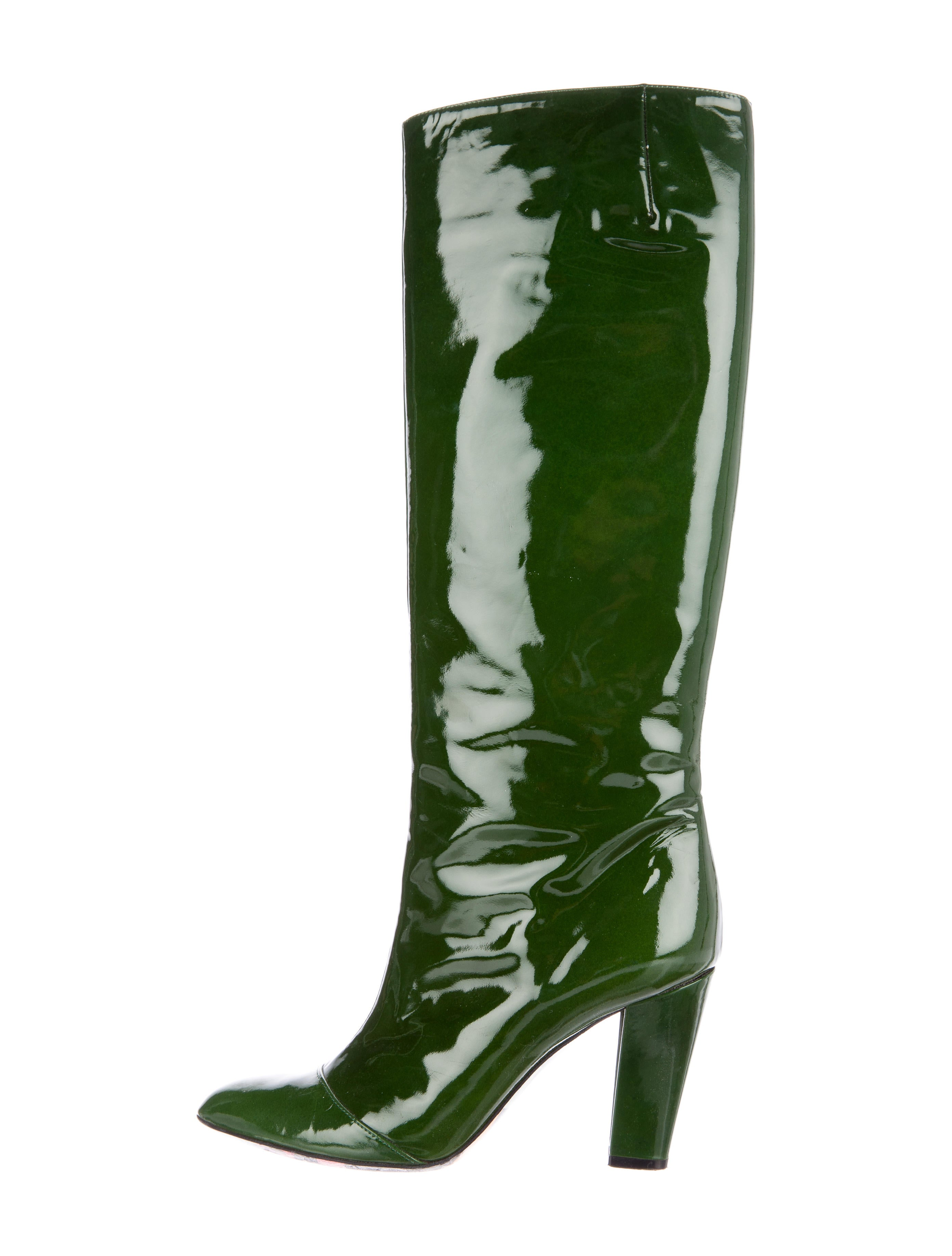 7ec20937bc1 Emilio Pucci Patent Leather Knee-High Boots - Shoes - EMI32310 | The ...