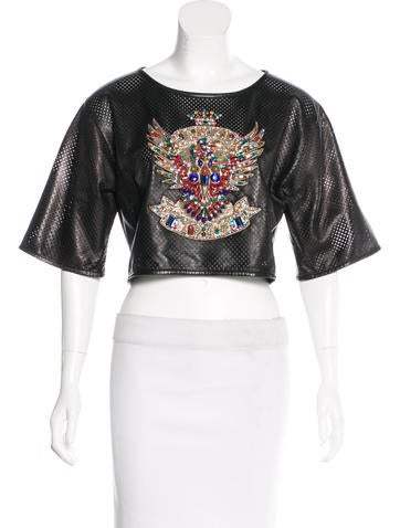 Emilio Pucci Embellished Leather Top