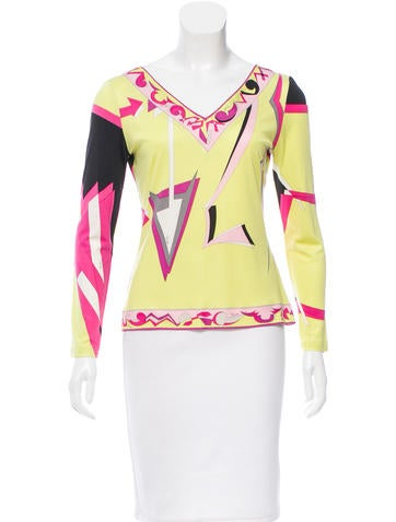 Emilio Pucci Printed Silk Top None