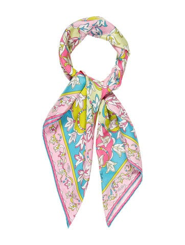 Abstract Print Silk Scarf
