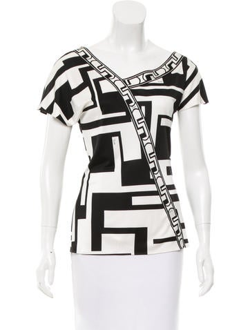 Emilio Pucci Geometric Print Silk Top None