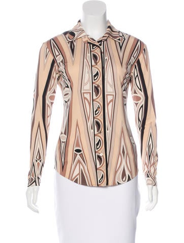 Emilio Pucci Printed Button-Up Top None
