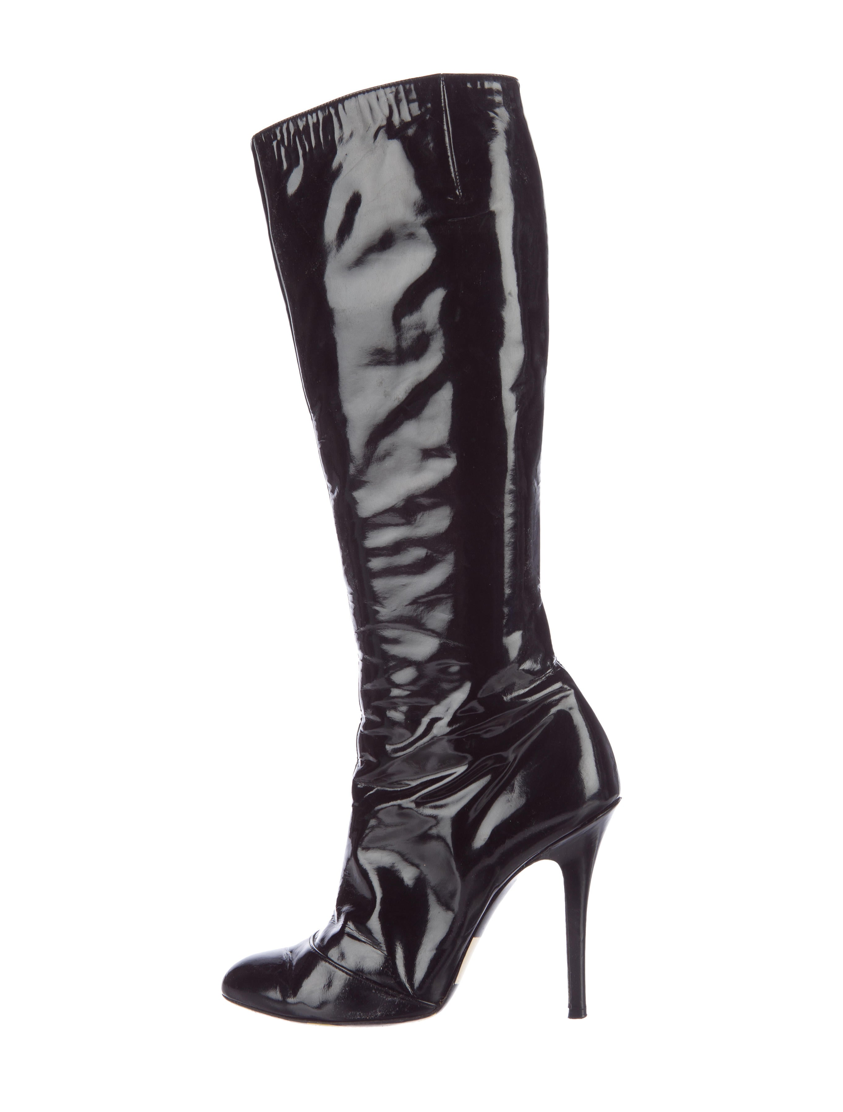 emilio pucci patent leather knee high boots shoes